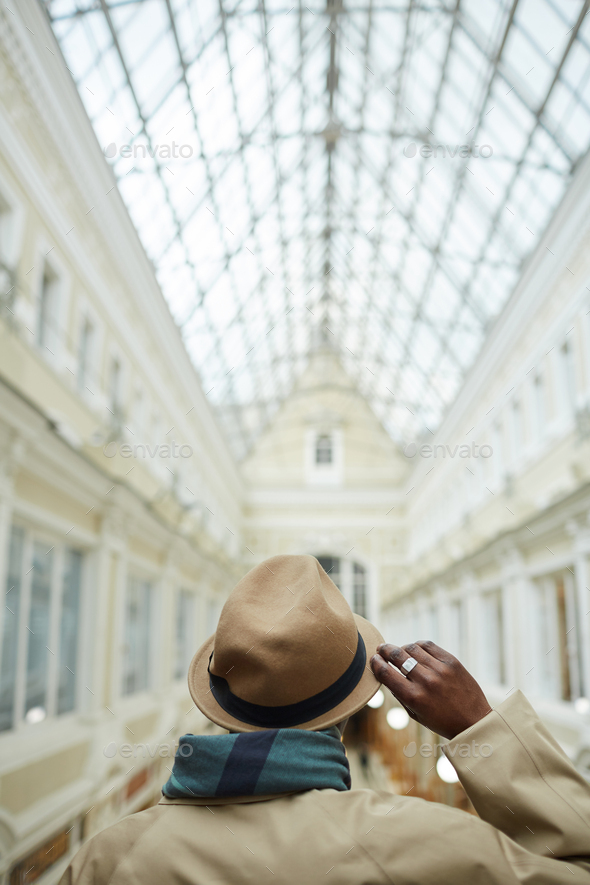 Man in Gallery Back view - Stock Photo - Images