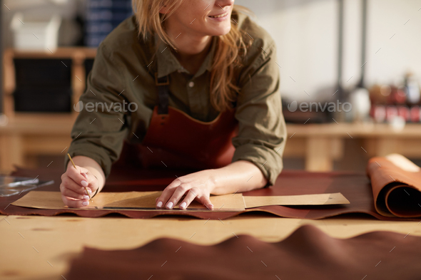 Unrecognizable Woman in Leather Shop - Stock Photo - Images