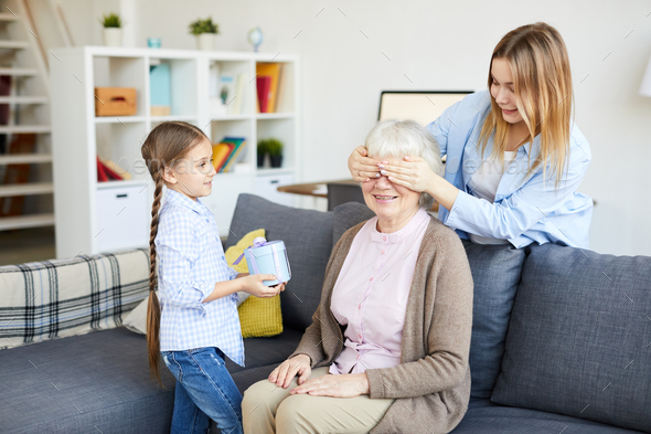 Surprise for Grandmothers Birthday - Stock Photo - Images