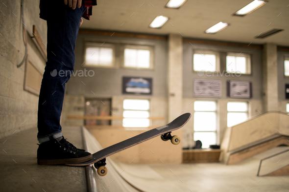 Skater Standing on Ramp - Stock Photo - Images