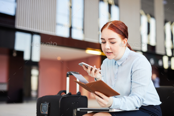 Woman Callip Airport Hotline - Stock Photo - Images