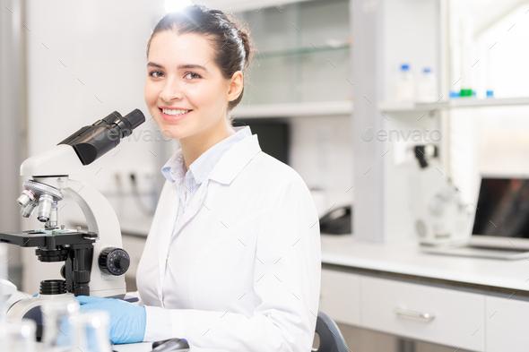 University student in scientific laboratory - Stock Photo - Images