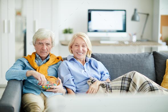 Senior Couple Watching TV - Stock Photo - Images