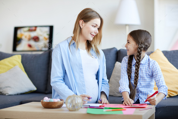 Mother and Daughter Drawing Pictures - Stock Photo - Images