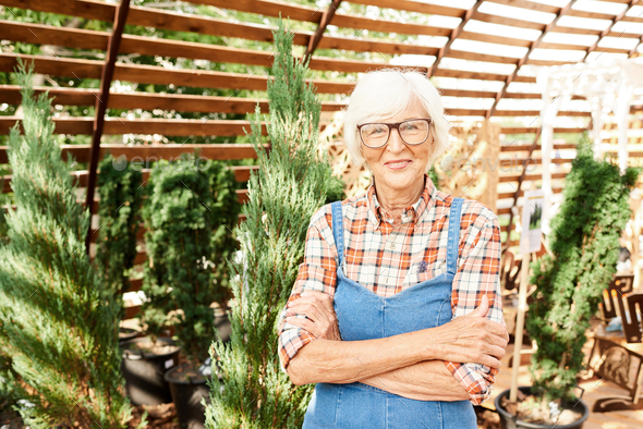 Happy Senior Farmer in Sunlight - Stock Photo - Images