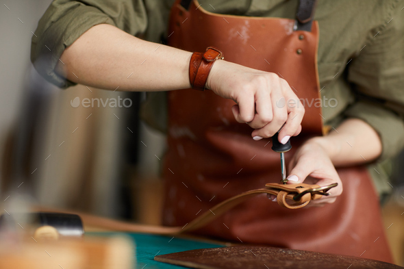 Artisan Sewing Leather Belt - Stock Photo - Images