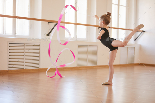 Little Gymnast with Ribbon - Stock Photo - Images