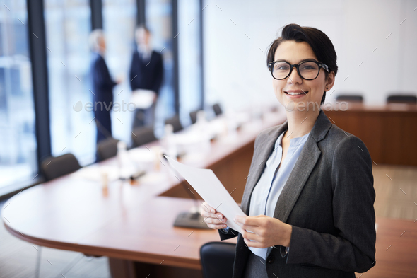 Young Businesswoman Smiling - Stock Photo - Images