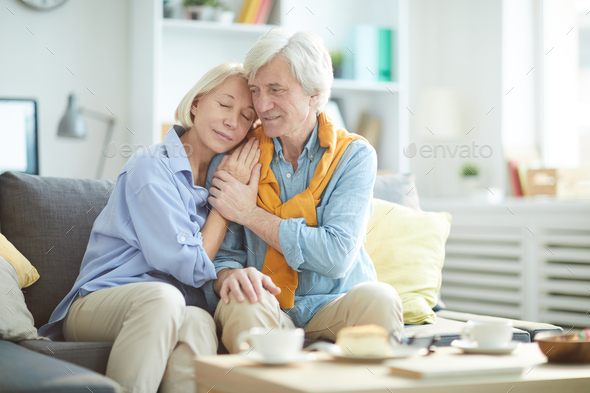 Loving Senior Couple at Home - Stock Photo - Images