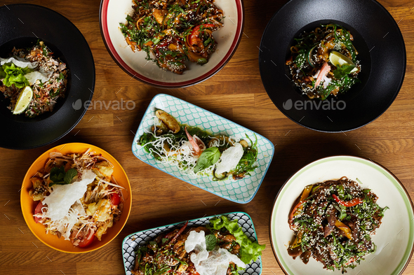 Flatlay of Asian Food - Stock Photo - Images