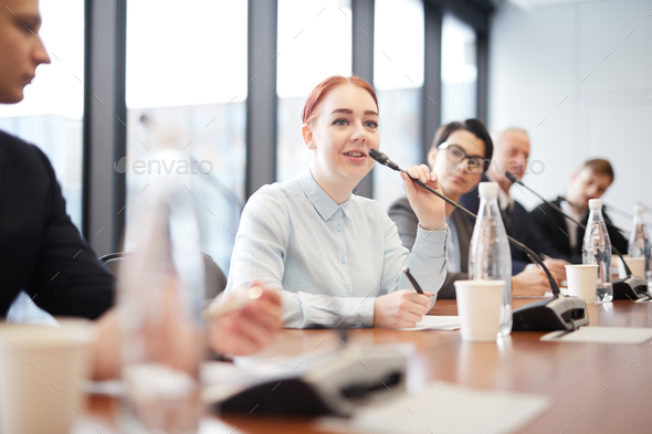Woman in Business Forum - Stock Photo - Images