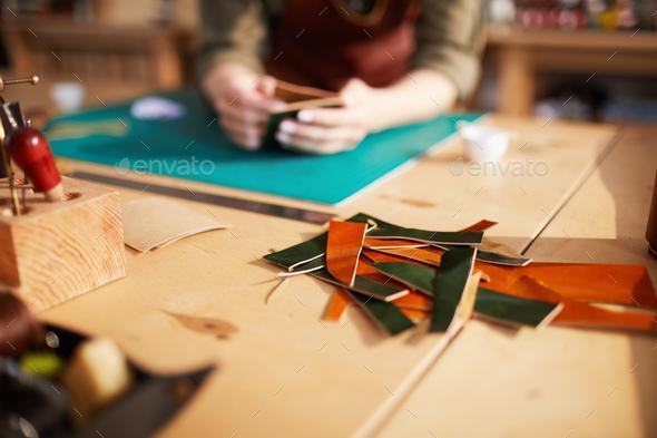 Woman doing Leatherwork Close Up - Stock Photo - Images