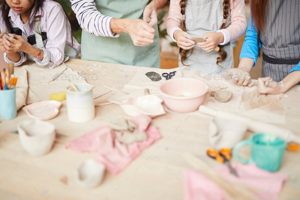 Children Creating Handmade Pottery - Stock Photo - Images