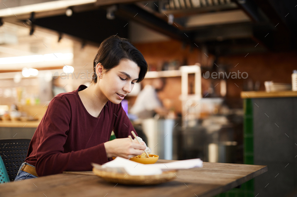 Woman Enjoying Asian Food - Stock Photo - Images