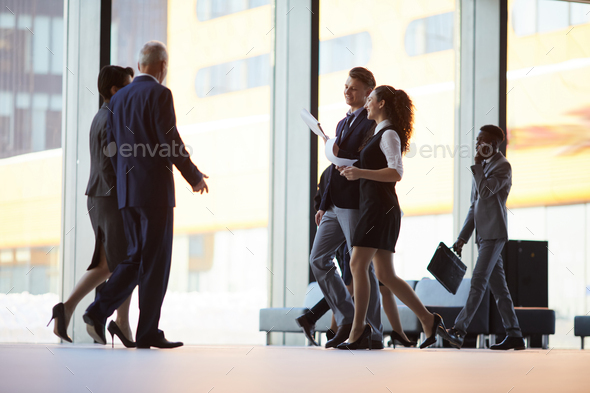 Busy Hall in Office Building - Stock Photo - Images