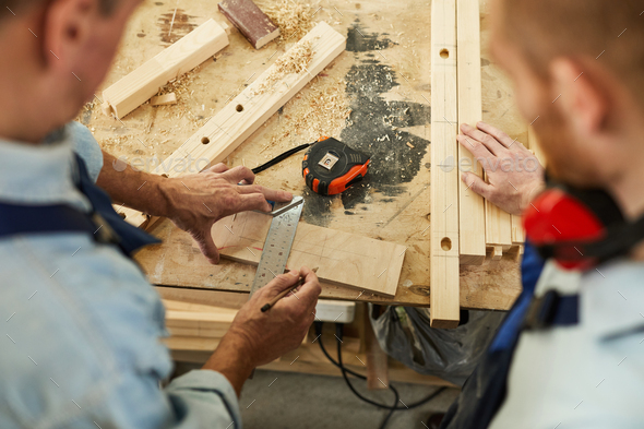 Carpenters at Workstation Above View - Stock Photo - Images