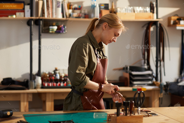 Leathrwork Shop in Sunlight - Stock Photo - Images