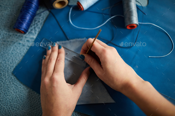 Tailor Sewing Leather Closeup - Stock Photo - Images