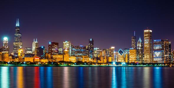Chicago night skyline by studio 21 videohive - Skyline night wallpaper ...