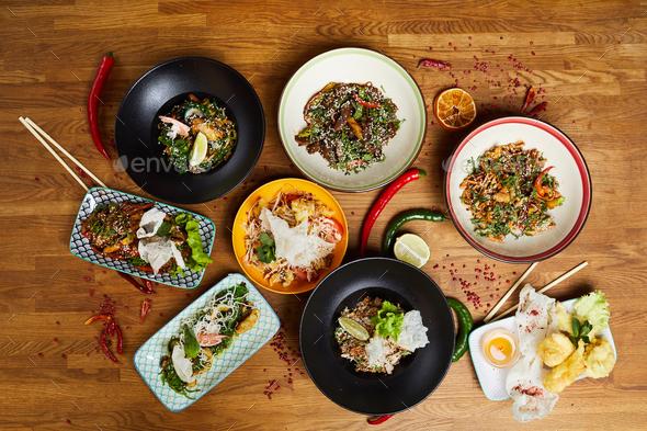 Oriental Food Flatlay - Stock Photo - Images