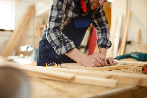 Carpenter Working Closeup - Stock Photo - Images