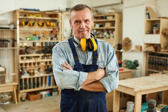 Senior Carpenter Posing - Stock Photo - Images