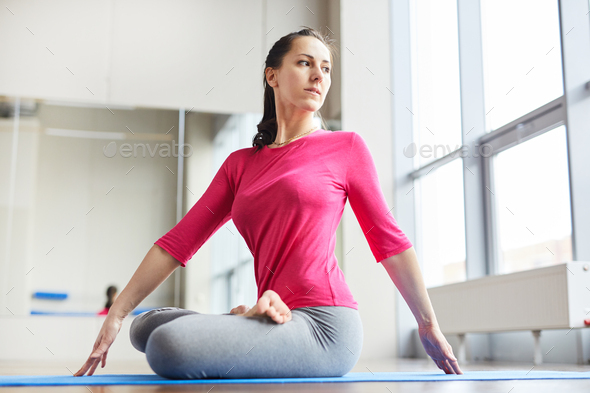 Girl in lotus position - Stock Photo - Images