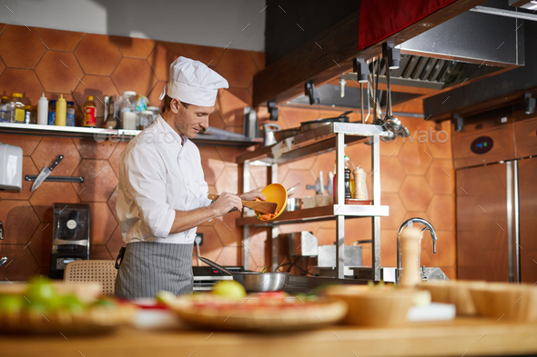 Professional Chef Cooking - Stock Photo - Images