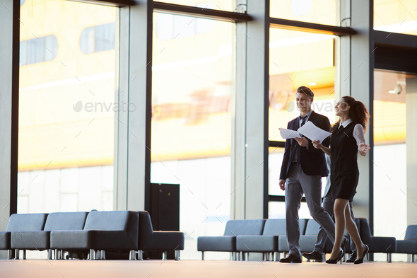 Cheerful Business People in Hall - Stock Photo - Images