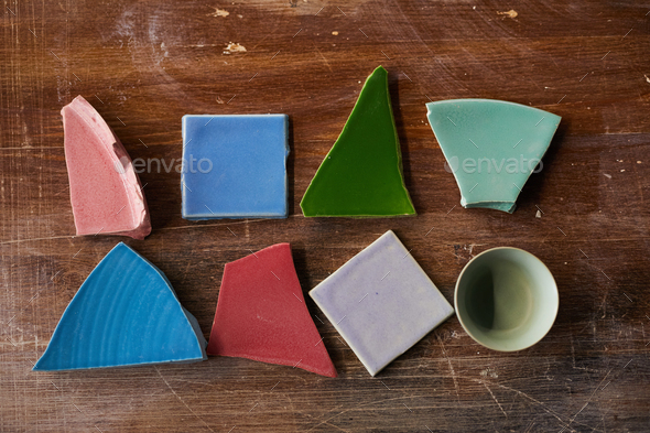 Broken pieces on table - Stock Photo - Images