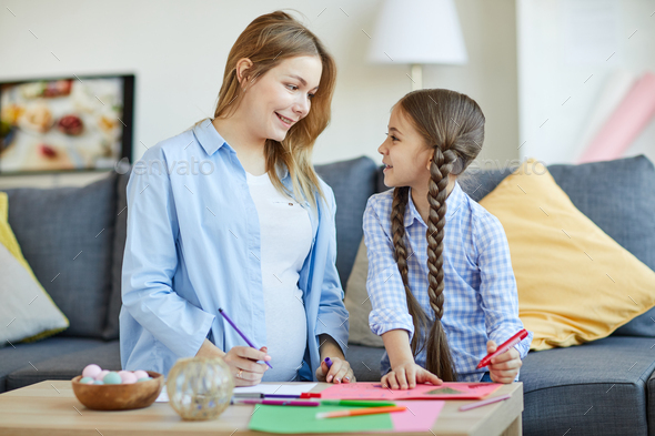 Girl with Mom Drawing - Stock Photo - Images