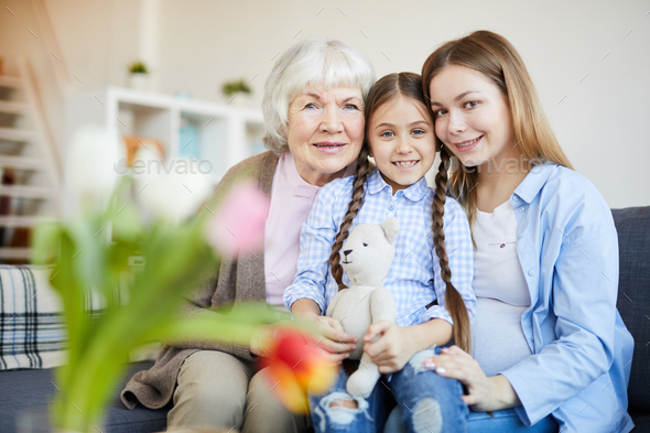 Womens Family Portrait at Home - Stock Photo - Images