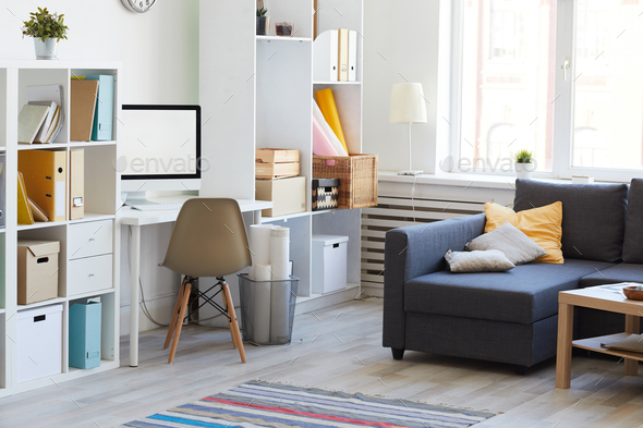 Apartment Interior in White and Blue - Stock Photo - Images