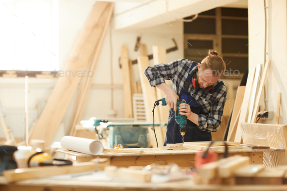 Carpenter Making Handmade Furniture - Stock Photo - Images