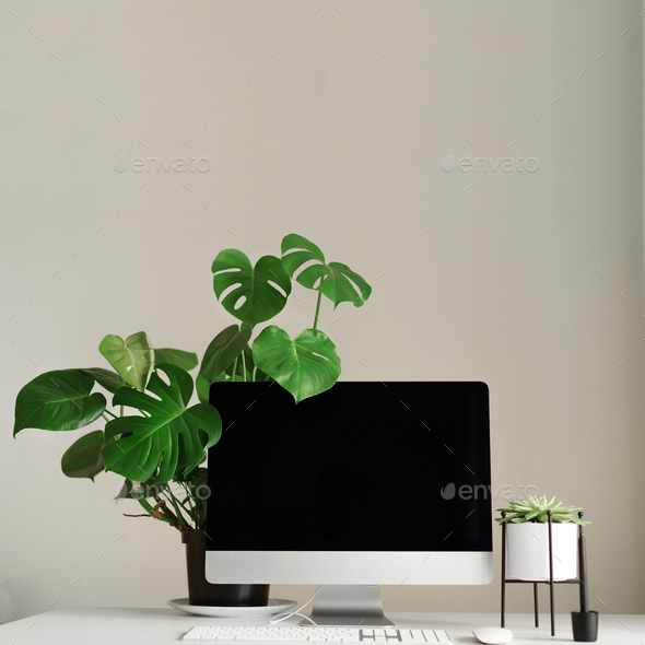 Keyboard, mouse, computer display with black blank screen. Front view. Modern designer workspace on - Stock Photo - Images