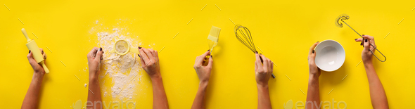 Female hands holding kitchen tools, sieve, rolling pin, bowl, sieve, brush, whisk, spatula for - Stock Photo - Images