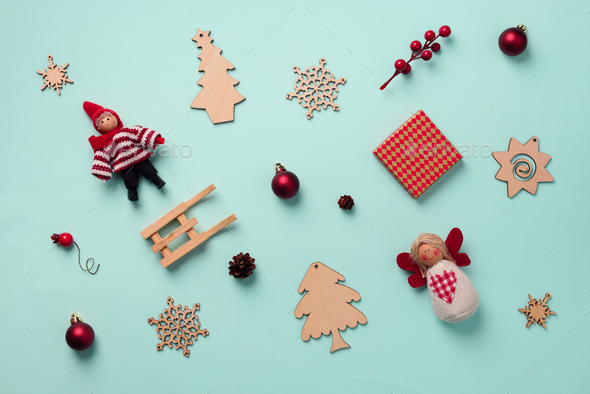 Greeting card for New year party. Christmas gifts, decorative elements and ornaments on blue - Stock Photo - Images