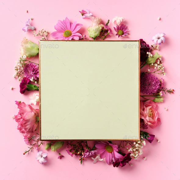 Frame of pink flowers over punchy pastel background. Valentines day, Woman day concept. Spring or - Stock Photo - Images