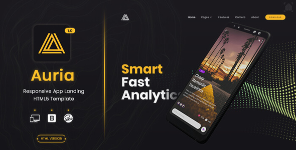 Auria - App Landing Page by ScanThemes