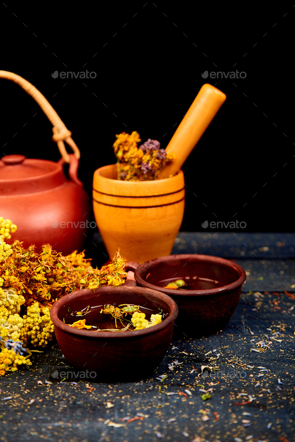 Cup of herbal tea Dry Herbs and flowers, herbal medicine. - Stock Photo - Images