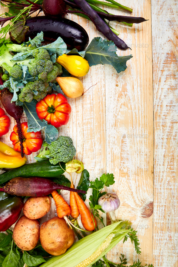Different vegetables for eating healthy on wooden background. - Stock Photo - Images