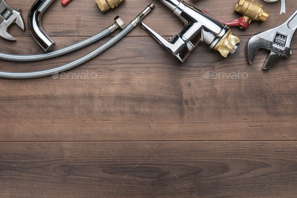 Top View Photo Of Plumbing Tools Over Wooden Background With Copy Space - Stock Photo - Images