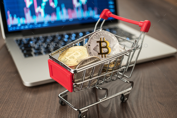 Shopping Trolley With Bitcoins And Pc - Stock Photo - Images