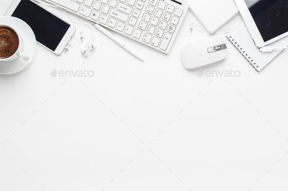 Overhead Of White Office Table - Stock Photo - Images