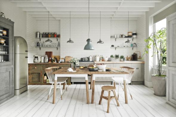 Scandinavian kitchen - Stock Photo - Images