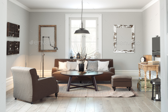Scandinavian Living room - Stock Photo - Images
