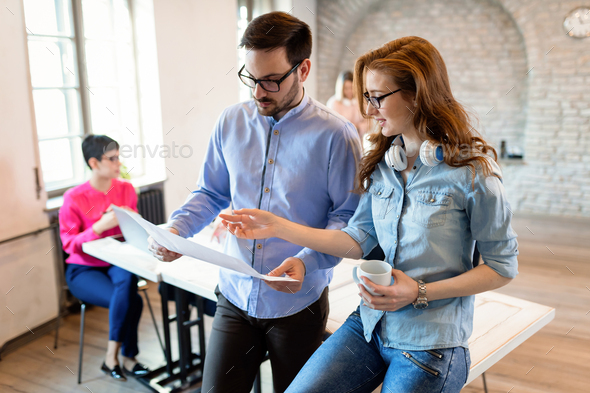 Creative coworkers working in office - Stock Photo - Images