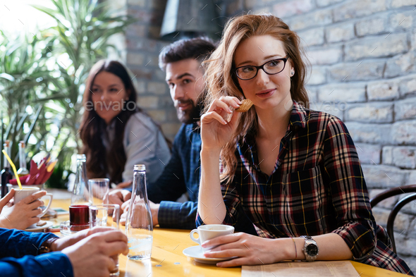 Picture of young business colleagues on break - Stock Photo - Images