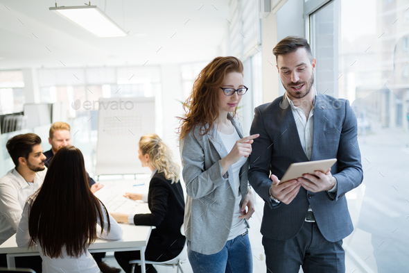 Business colleagues working together at office - Stock Photo - Images