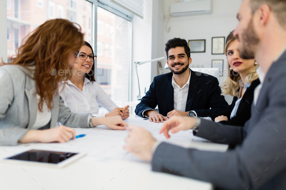 Group of architects working together on project - Stock Photo - Images